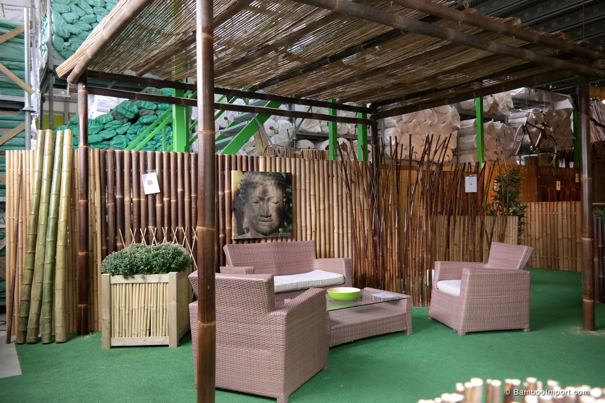 Black Bamboo Pavilion Pergola Kit 3 X 3 M Bambus Produkter